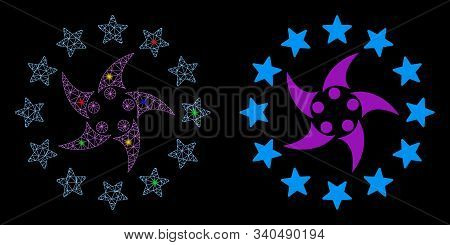 Bright Mesh Europeans Collaboration Icon With Sparkle Effect. Abstract Illuminated Model Of European