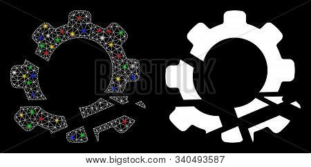 Glossy Mesh Gear Destruction Icon With Glare Effect. Abstract Illuminated Model Of Gear Destruction.