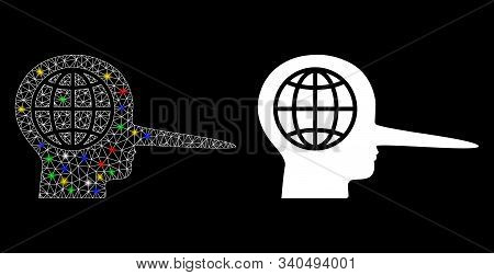 Glowing Mesh Global Liar Icon With Lightspot Effect. Abstract Illuminated Model Of Global Liar. Shin