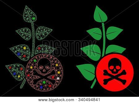 Bright Mesh Herbicide Toxin Icon With Lightspot Effect. Abstract Illuminated Model Of Herbicide Toxi