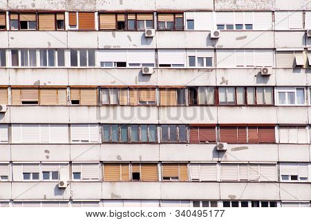 Communist Socialist Architecture. Architectural Detail And Pattern Of Social Residential Of Apartmen