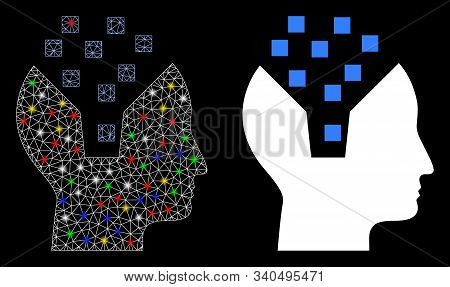 Glowing Mesh Human Memory Icon With Glare Effect. Abstract Illuminated Model Of Human Memory. Shiny