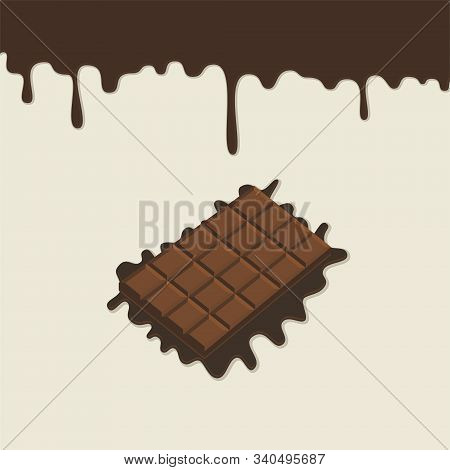 Dripping Melted Chocolates Isolated. Milk Chocolate Bar. Vector Illustration Of Liquid Chocolate Cre