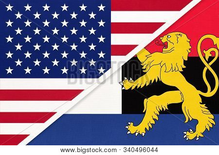 Usa Vs Benelux National Flag From Textile. Relationship, Partnership And Economic Between Two Americ