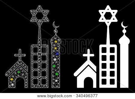 Glossy Mesh Jerusalem City Icon With Lightspot Effect. Abstract Illuminated Model Of Jerusalem City.