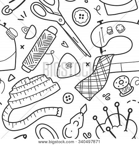 Sewing And Tailoring Tools, Acessories And Equipment, Vector Background, Seamless Vector Pattern, Si