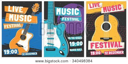 Music Festival Posters. Live Acoustic Guitar Music Concert Poster, Rock Fest Flyer And Creative Broc