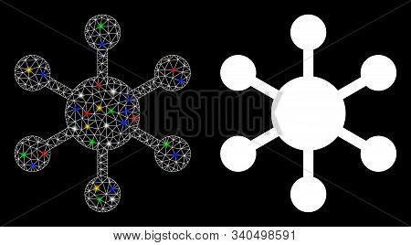 Glossy Mesh Network Node Icon With Sparkle Effect. Abstract Illuminated Model Of Network Node. Shiny