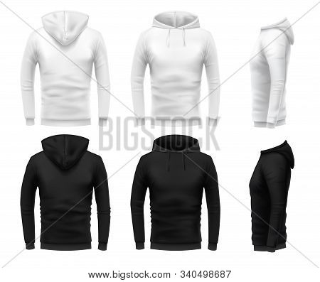Realistic Hoodie Mockup. Black Sweatshirt, White Urban Wearing Hoodie And Realistic Clothes Template