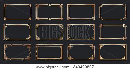 Golden Art Deco Frames. Vintage Decorative Frame, Gold Ornaments Borders And Geometric Lines Ornamen