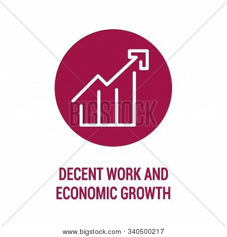 Decent Work And Economic Growth Color Icon. Corporate Social Responsibility. Sustainable Development
