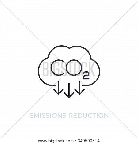 Co2, Carbon Emissions Reduction, Vector Line Icon, Eps 10 File, Easy To Edit