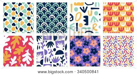 Seamless Abstract Color Shapes Patterns. Modern Art Geometric Stamp Shape, Colorful Scribble Poster