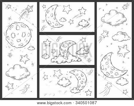 Sketch Night Sky With Moon. Hand Drawn Moon, Night Stars And Doodle Dream Sleep Clouds Vector Illust