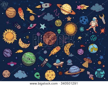 Color Space Doodle. Astrology Planets, Colorful Space And Hand Drawn Rocket Vector Illustration Set.