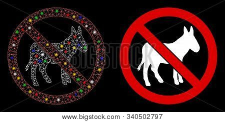 Glossy Mesh No Donkey Icon With Sparkle Effect. Abstract Illuminated Model Of No Donkey. Shiny Wire