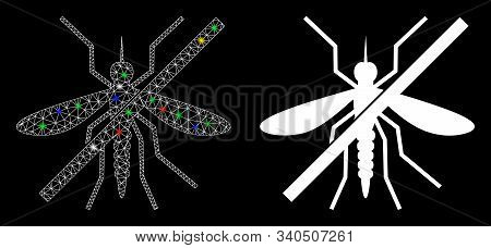 Glowing Mesh No Mosquito Icon With Glow Effect. Abstract Illuminated Model Of No Mosquito. Shiny Wir