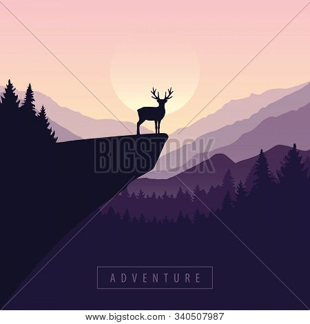 Wildlife Adventure Elk In The Wilderness At Sunset On A Cliff Vector Illustration Eps10