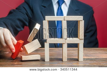 A Businessman Removes An Important Component Causes Collapse Of Entire Complex System. Incompetent B