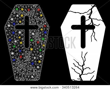 Glossy Mesh Old Coffin Icon With Glitter Effect. Abstract Illuminated Model Of Old Coffin. Shiny Wir