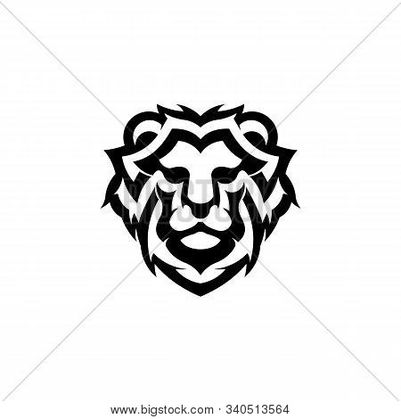 Vector Face Of Lion, Animal Predator Head For Graphic Logo Lion, Lion King Of Wild Animals