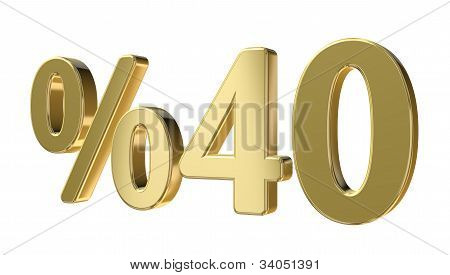 Golden Forty Percent Sign