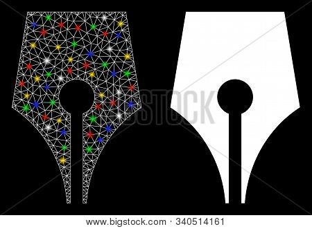 Glossy Mesh Poetry Pen Icon With Sparkle Effect. Abstract Illuminated Model Of Poetry Pen. Shiny Wir