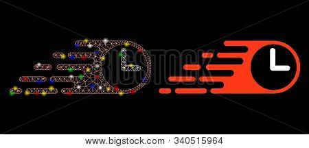 Glowing Mesh Rush Clock Icon With Glitter Effect. Abstract Illuminated Model Of Rush Clock. Shiny Wi