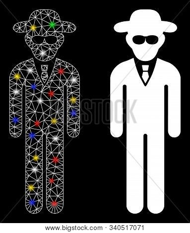 Glowing Mesh Security Agent Icon With Glare Effect. Abstract Illuminated Model Of Security Agent. Sh