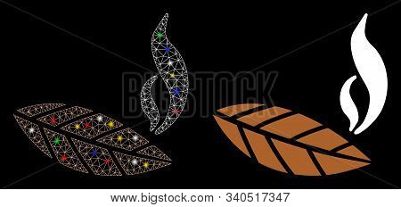 Glossy Mesh Smoking Tobacco Leaf Icon With Lightspot Effect. Abstract Illuminated Model Of Smoking T