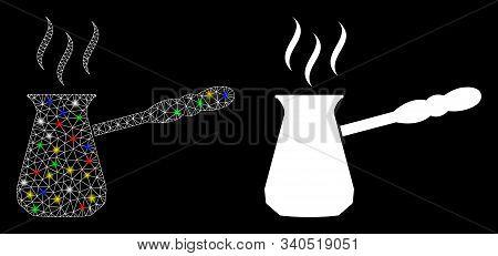 Bright Mesh Turkish Coffee Icon With Glare Effect. Abstract Illuminated Model Of Turkish Coffee. Shi