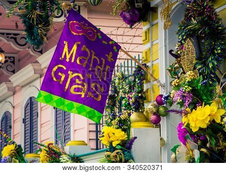 Colorful Decorations For The Mardi Gras Celebrations In New Orleans