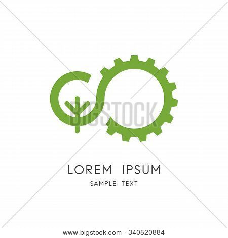 Nature And Industry Logo - Green Tree And Gear Wheel Symbol. Ecology And Environment Vector Icon.
