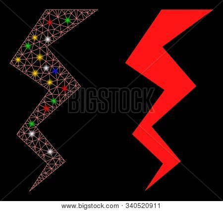 Flare Mesh Zigzag Strike Icon With Sparkle Effect. Abstract Illuminated Model Of Zigzag Strike. Shin