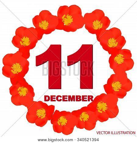 December 11 Icon. For Planning Important Day. Banner For Holidays And Special Days With Flowers. Ele