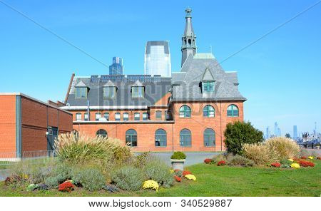JERSEY CITY, NEW JERSEY - 04 NOV 2019: Historic Central Railroad of New Jersey Terminal, at Liberty State Park, houses the ticket windows for the Statue of Liberty and Ellis Island ferry.