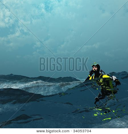 Diver at surface of rough sea