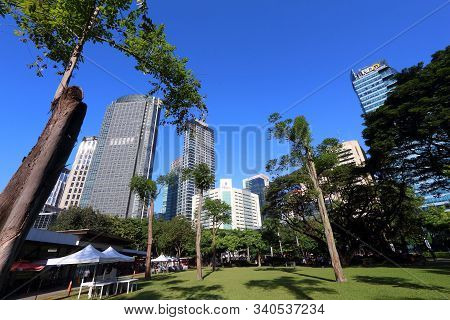 Manila, Philippines - November 28, 2017: Skyline View From Ayala Triangle In Makati City, Metro Mani