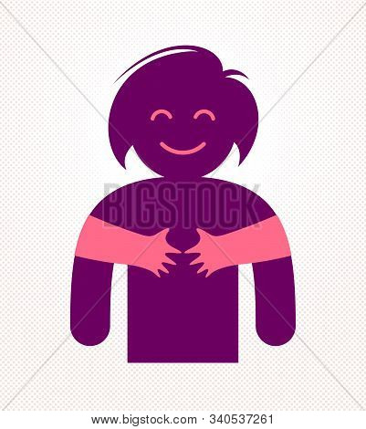 Loved Woman With Care Hands Of A Lover Or Friend Hugging Her Around From Behind, Vector Icon Logo Or