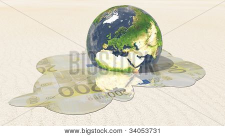 Europe earth euro melt poster
