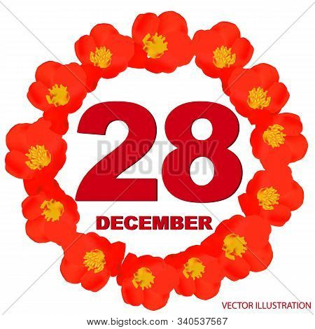 December 28 Icon. For Planning Important Day. Banner For Holidays And Special Days With Flowers. Twe