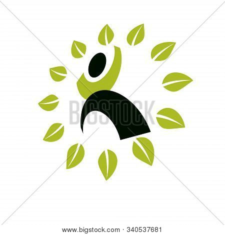 Vector Illustration Of Excited Abstract  Man With Raised Reaching Up. Go Green Idea Creative Logo. H