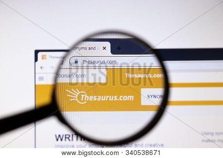Los Angeles, California, Usa - 19 December 2019: Thesaurus Website Page. Thesaurus.com Logo On Displ