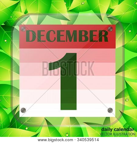 December 1 Icon. Calendar Date For Planning Important Day With Green Leaves. December First. Banner