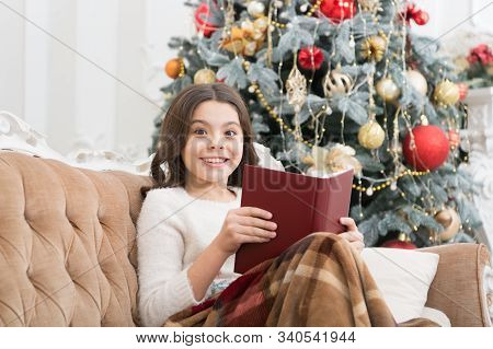 New Year Eve. Best Xmas Book. Small Girl Reader Enjoy Reading At Home. Interesting Christmas Story.