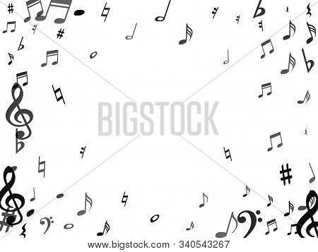 Black Flying Musical Notes Isolated On White Backdrop. Stylish Musical Notation Symphony Signs, Note