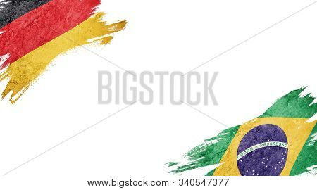 Flags Of Germany And brasil On White Background