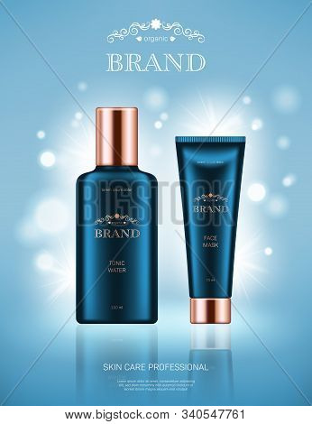 Realistic Tonic Water Bottle And Face Mask Tube With Golden Lids On Light Blue Background With Bokeh