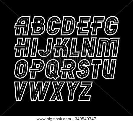 Vector Regular Retro Upper Case English Alphabet Letters Collection, Can Be Used In Poster Art Creat