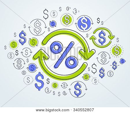 Percent Symbol And Loop Arrow, Taxes, Return On Investment, Refund, Stock Market, Refinance, Bookkee
